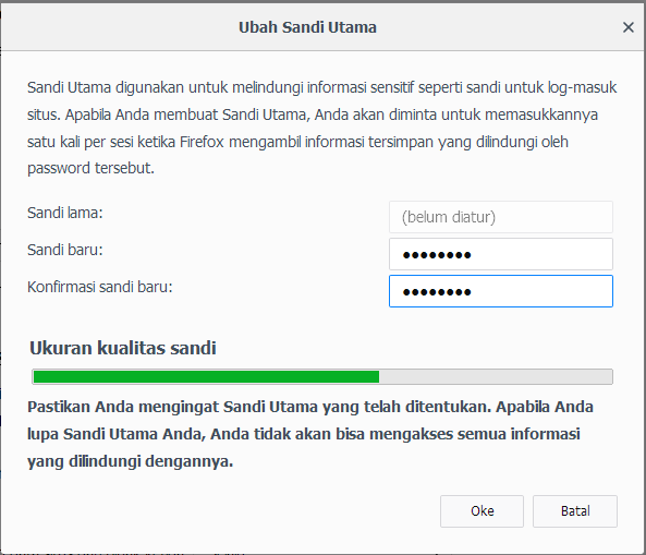 Ubah Sandi Utama Mozila Firefox