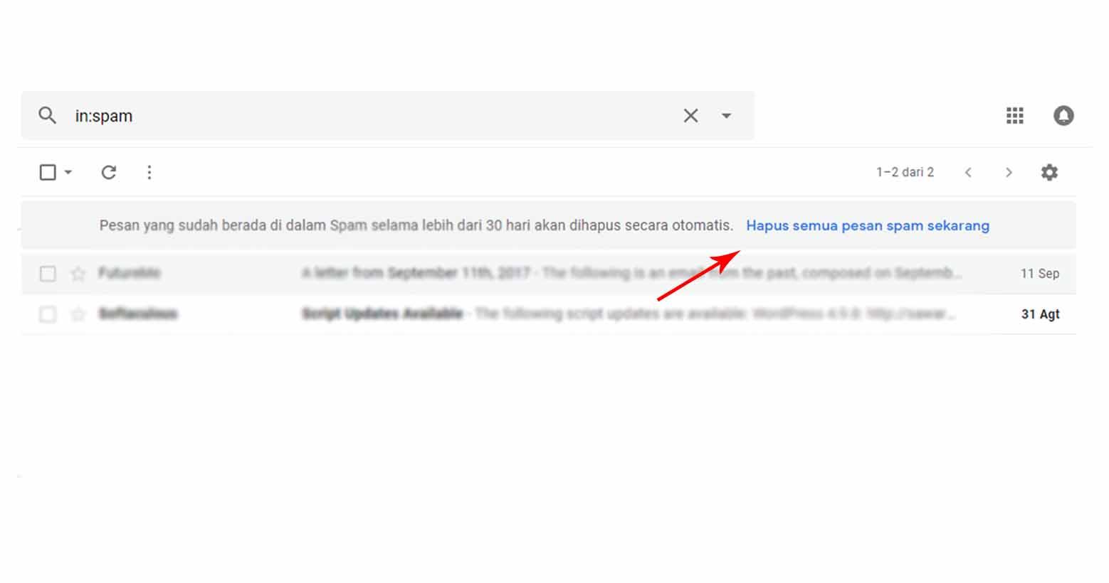 Lakukan Pembersihan Spam Email Secara Rutin