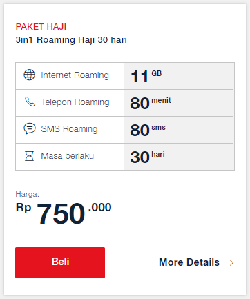 Paket Haji Telkomsel: 3in1 Roaming Haji 30 Hari