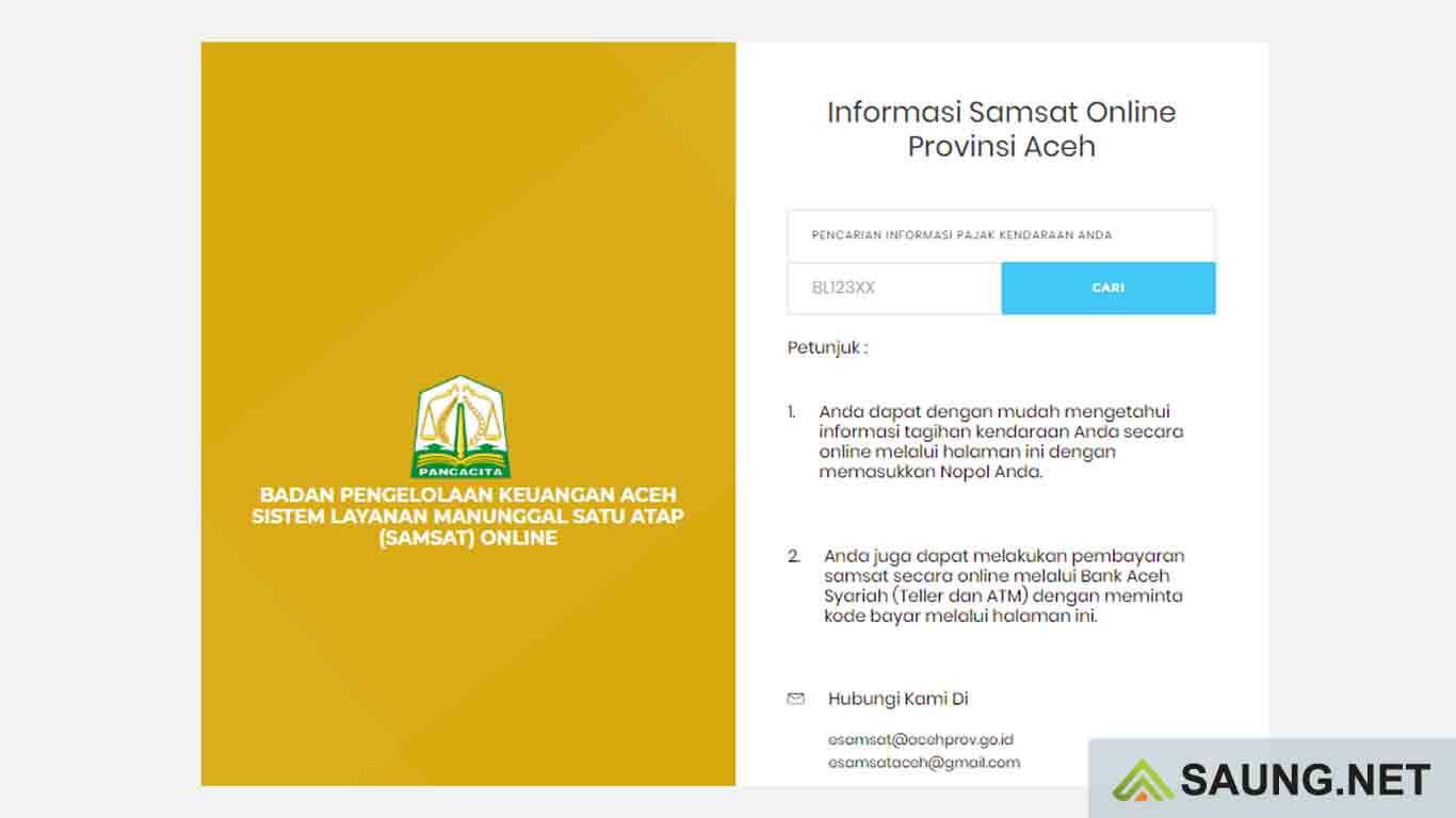 cek pajak kendaraan Aceh