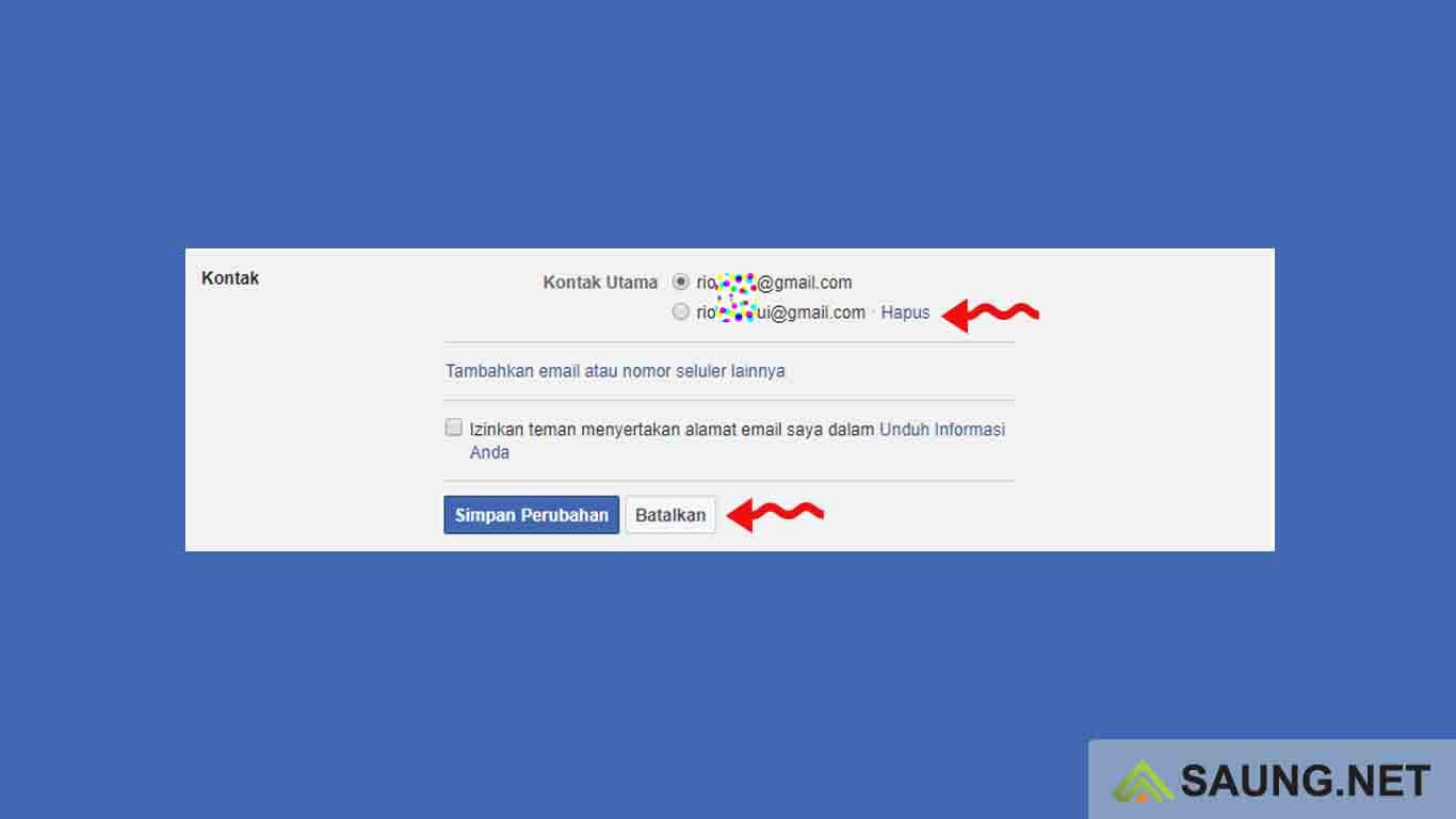 cara ganti email fb di hp