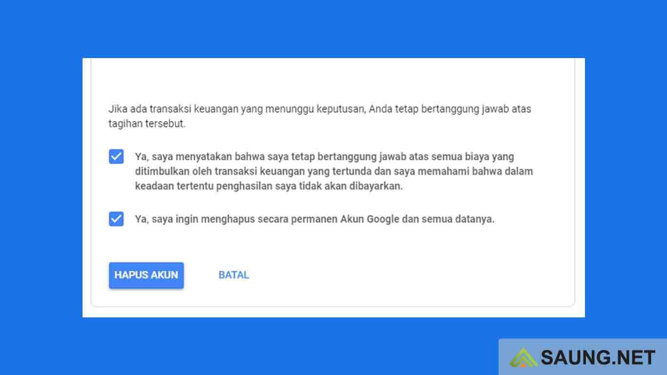 cara menghapus akun google dari perangkat