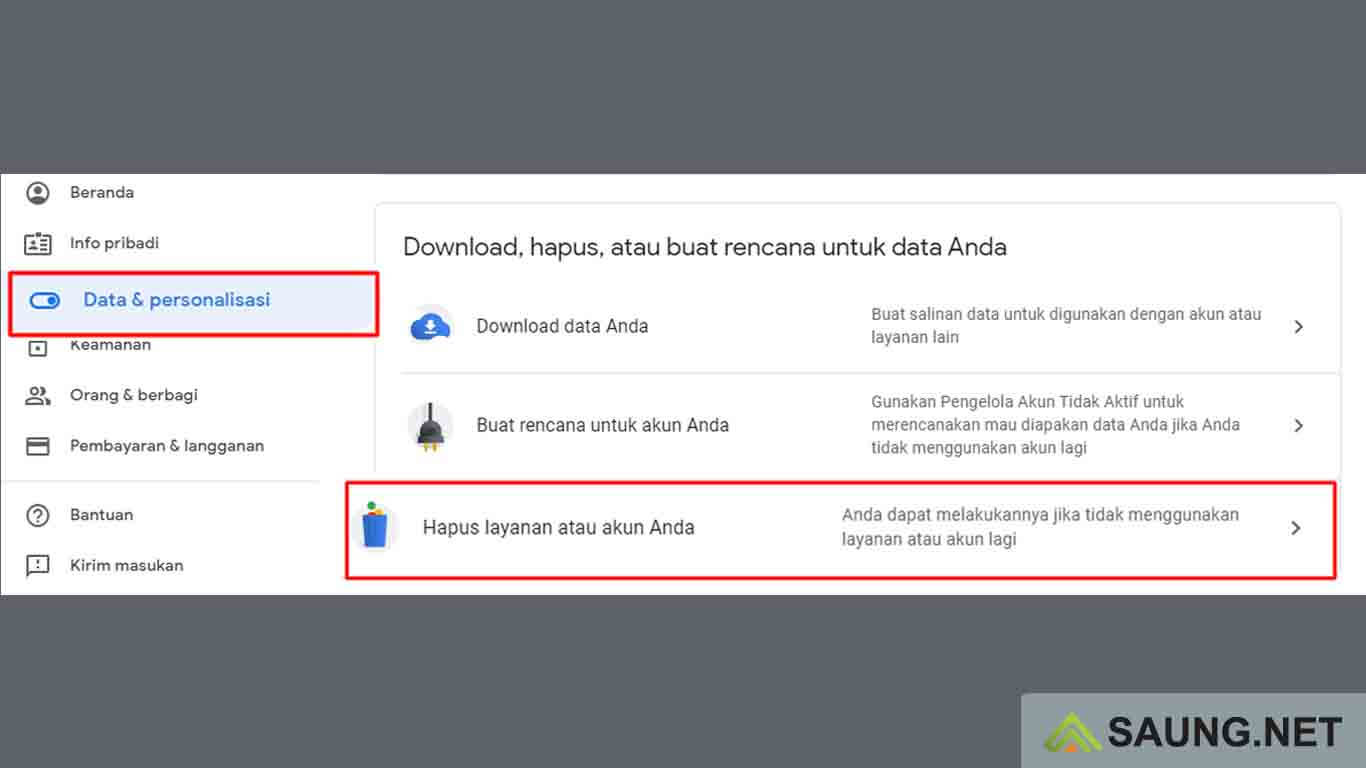 cara menghapus akun google di perangkat lain
