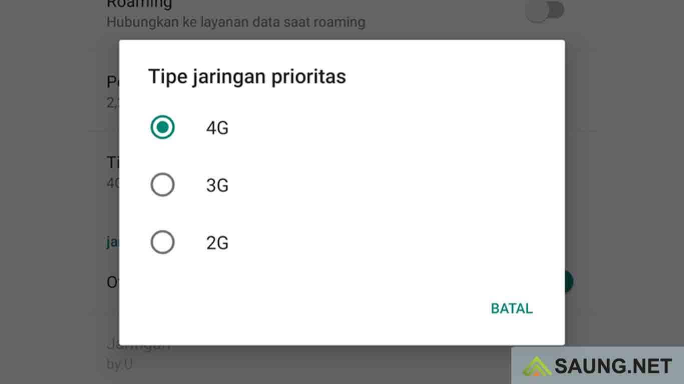 cara mengubah jaringan ke 4g