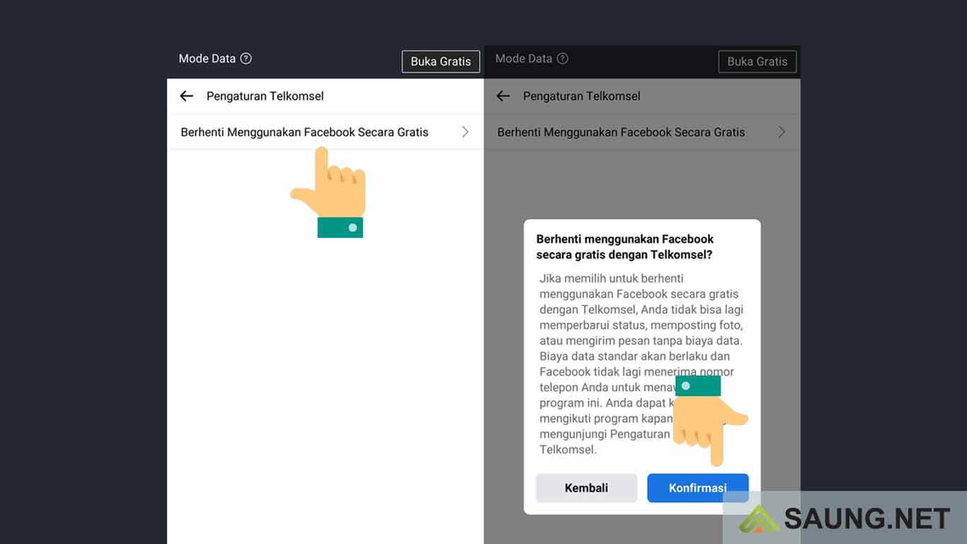 cara menghilangkan mode gratis di aplikasi facebook